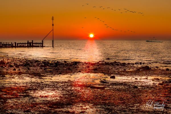 Hunstanton Beach Sunset Seagulls Fishing Boat Aerial Photography Norfolk Drone