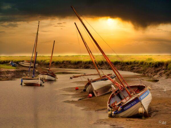 Burnham Overy Staithe Boats Sunset